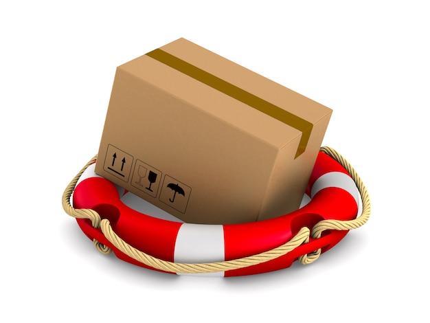 Грузовой ящик и спасательный круг на белом.