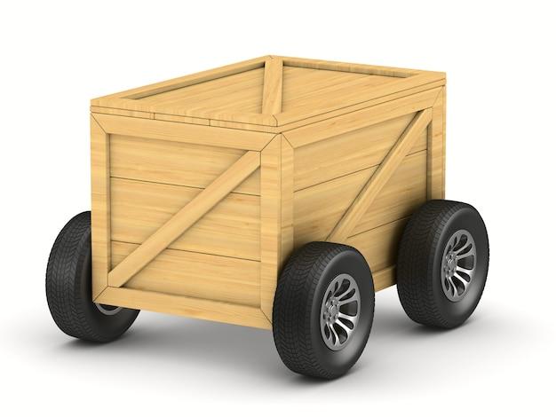 흰색 바탕에 바퀴가 달린 화물 상자. 격리 된 3d 그림
