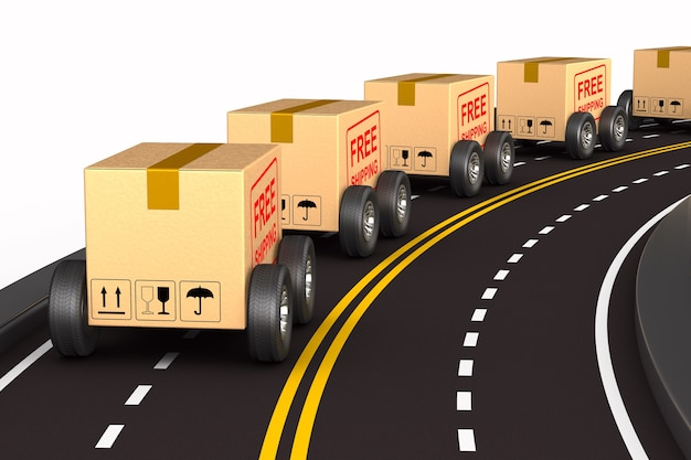 Cargo box with wheel on road. white surface. isolated 3d illustration