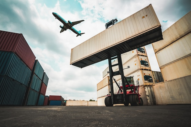 Cargo container for overseas shipping in shipyard with airplane in the sky .