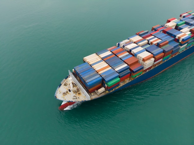 Cargo container ship carrying container import and export  goods