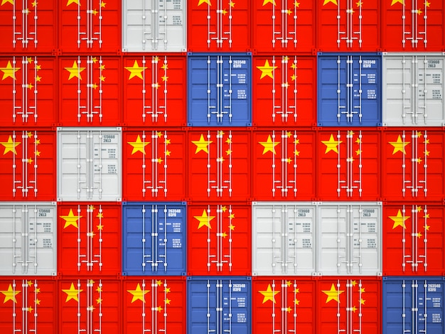 Cargo container with the chinese flag asian market concept