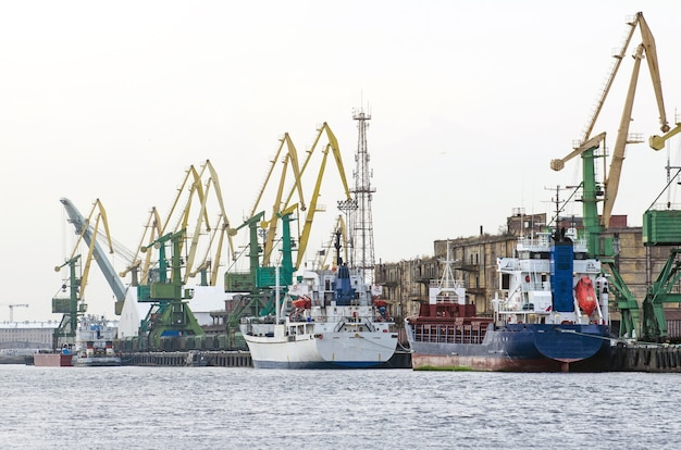 Cargo freight ship and cargo container working with crane at port area