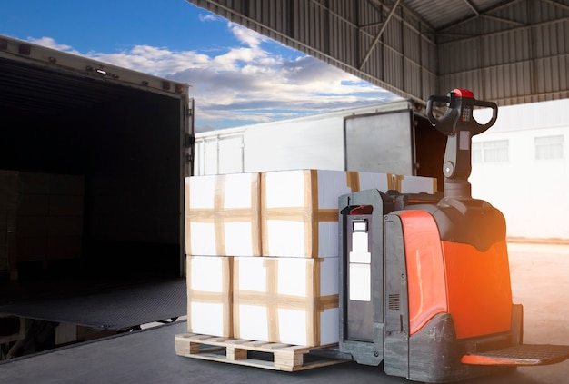 Cargo freight truck, shipment, delivery service.