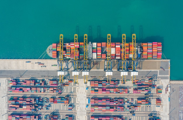 Cargo to harbor. aerial view of sea freight, cargo ship