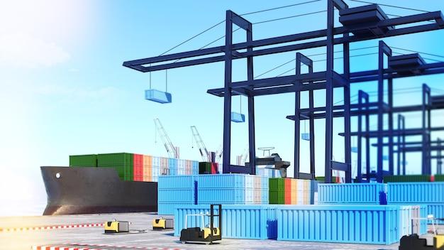화물 항구 및 화물선 창고 관리, 항구, 창고 및 화물선, 3d 렌더링