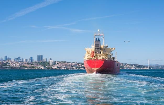 Cargo ship tanker in the channel bosphorus strait international logistic sea