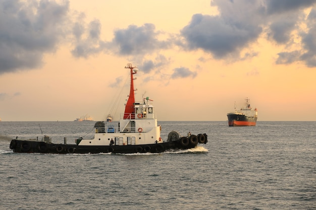 Cargo ship and tugboat in the morning