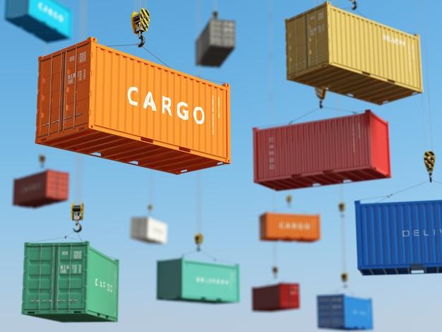 Грузовые контейнеры в складской зоне с вилочными погрузчиками концепция доставки фона 3d