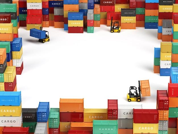 Грузовые контейнеры на складе с вилочными погрузчиками Premium Фотографии