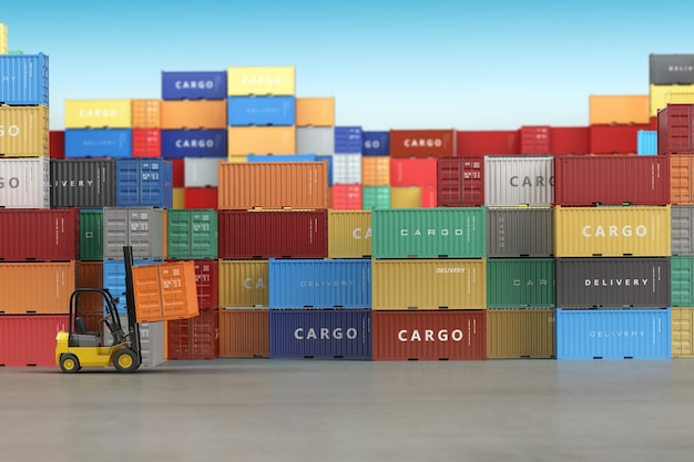 Cargo shipping containers in storage area with forklifts