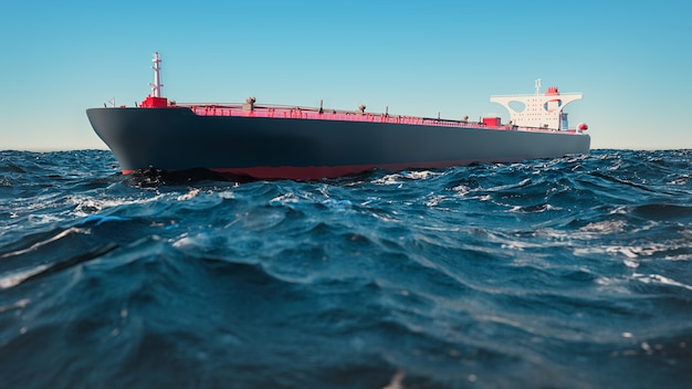 Cargo ships, they were in the middle of the sea. 3d rendering and illustration.