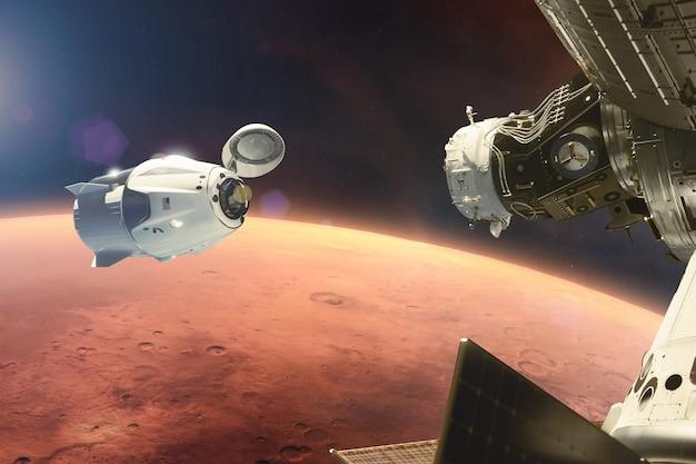 Cargo spacecraft in lowmars orbit