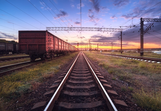 Cargo train platform at sunset. railroad in ukraine. railway station