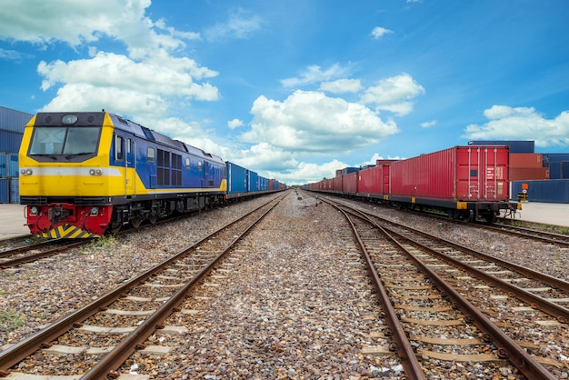 Cargo train platform with freight train container at depot in port use for export logistics