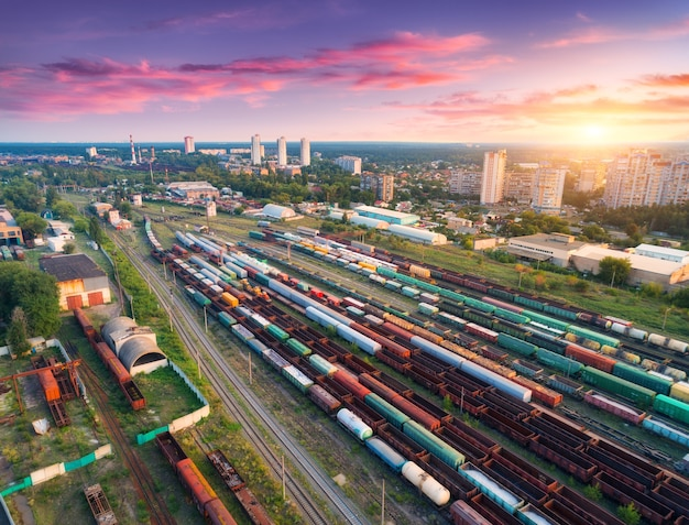 Cargo trains. aerial view of colorful freight trains.