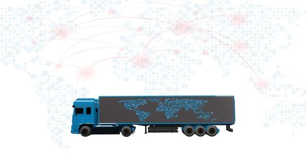 貨物トラックと配達国際輸送システムの3dイラスト