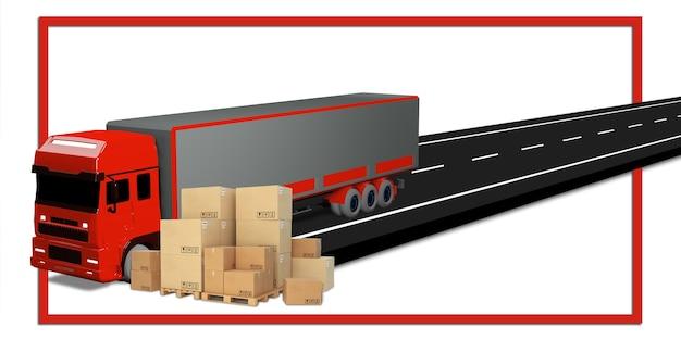 화물 트럭 및 배달 국제 운송 시스템 3d 그림