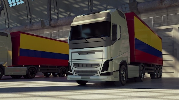 Cargo trucks with colombia flag. trucks from colombia loading or unloading at warehouse dock. 3d rendering.