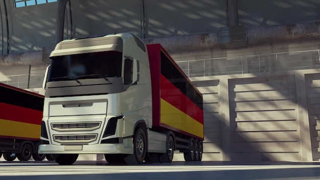 Cargo trucks with germany flag. trucks from germany loading or unloading at warehouse dock. 3d rendering.