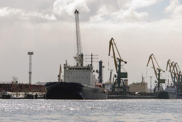 Cargo vessel moored