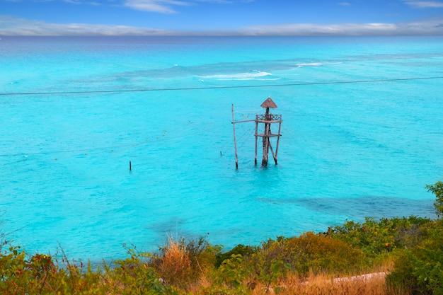Caribbean zip line tyrolean turquoise sea