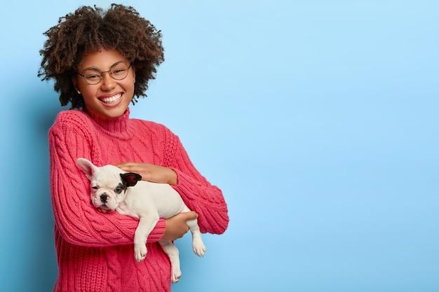 돌보는 어두운 피부의 동물 주인은 작은 강아지를 안고, 애완 동물을 좋아하고, 안경과 분홍색 스웨터를 입고, 즐겁게 미소 짓습니다.