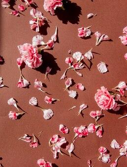 茶色の表面にカーネーションの花びらなど。