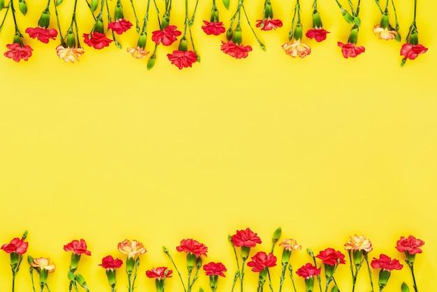 Граница цветов гвоздики на желтом фоне.