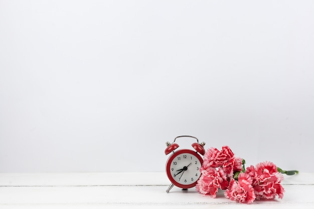 Carnation red flowers and red alarm clock on white wooden surface
