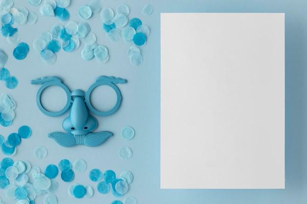 Carnival cute blue mask paper copy space