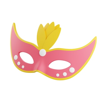 Carnival mask 3d render illustration. pink face masquerade mask decorated with yellow feathers for holiday party or festival concept isolated on white background.