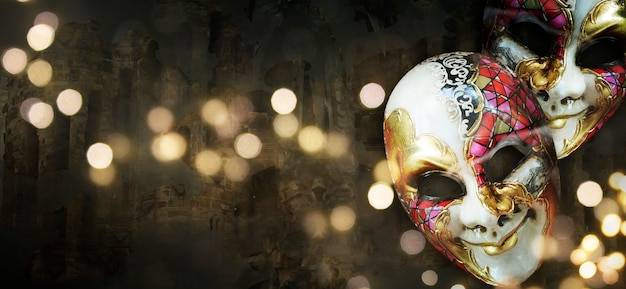 Carnival mask on the dark background