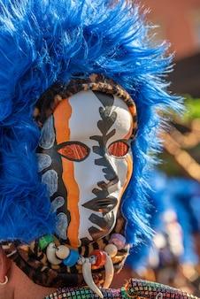 Карнавальная маска с синим париком