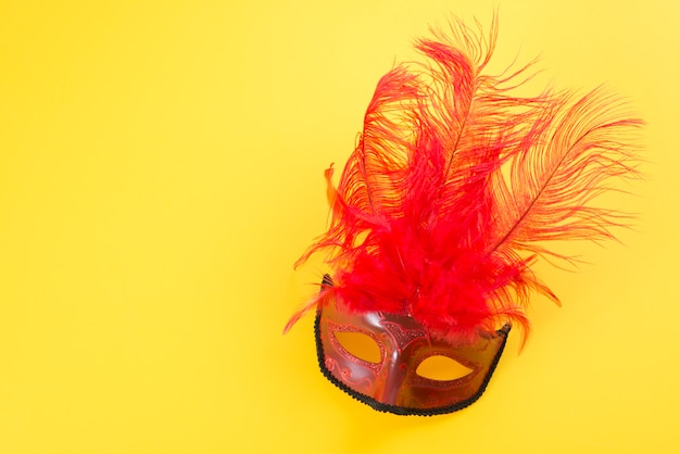 Carnival mask with feather on table