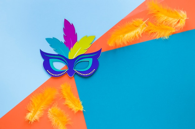 Carnival mask with feathers and copy space