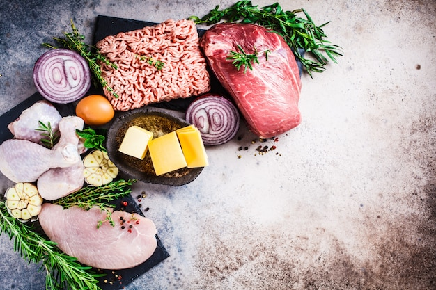 Carnivore diet concept. raw meat of chicken, beef, butter, cheese, eggs, minced meat and turkey on dark background, copy space, top view, flat lay.