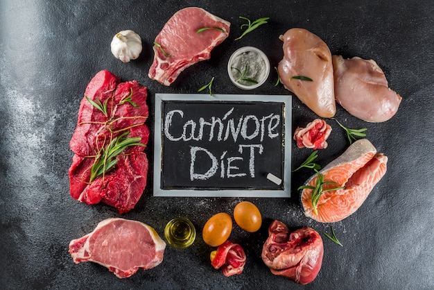 Carnivore protein diet background