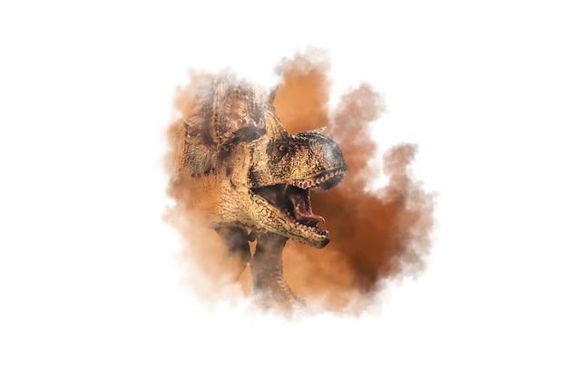 Carnotaurus  dinosaur on  smoke background