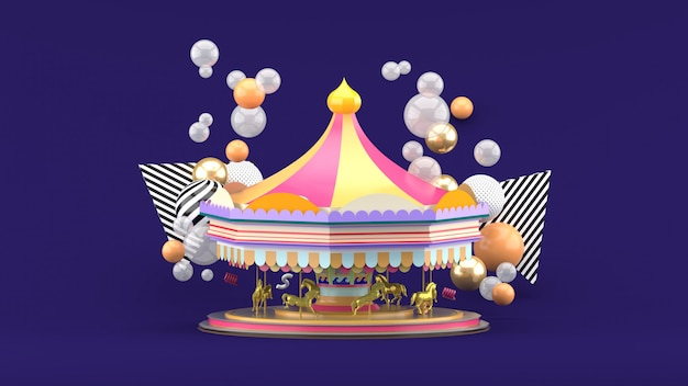 Карусель среди разноцветных шариков на фиолетовый. 3d визуализация