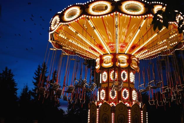 Carousel in amusement park at night city