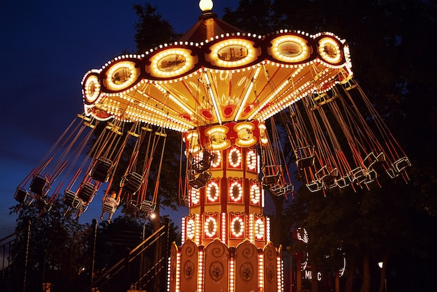 Carousel in amusement park at night city