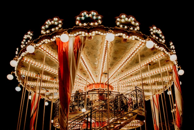 Carousel on christmas fair in moscow