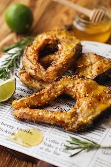 ハニーマスタードソースで焼いた鯉