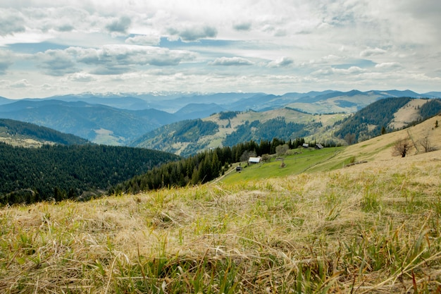 Carpathian mountains top view landscape ridge summer season dramatic weather time with cloudy blue sky