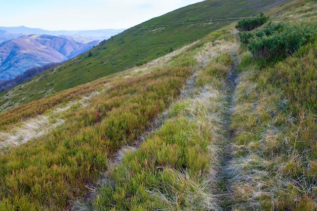 Carpathian mountains (ukraine) autumn landscape with path on mountainside.