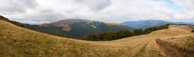 カルパティア山脈(ウクライナ)の風景。 9枚の合成画像。
