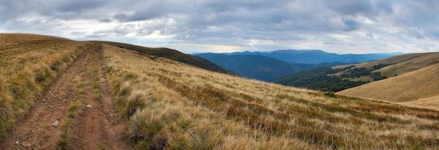 Carpathian mountains (ukraine) landscape with country road. six shots composite picture.