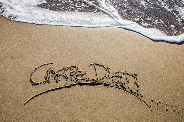 Carpe diem written on the sand beach