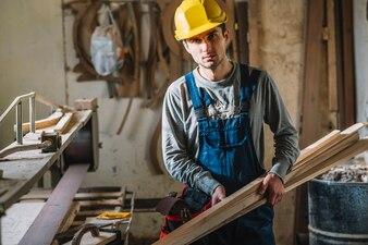Carpenter in garage